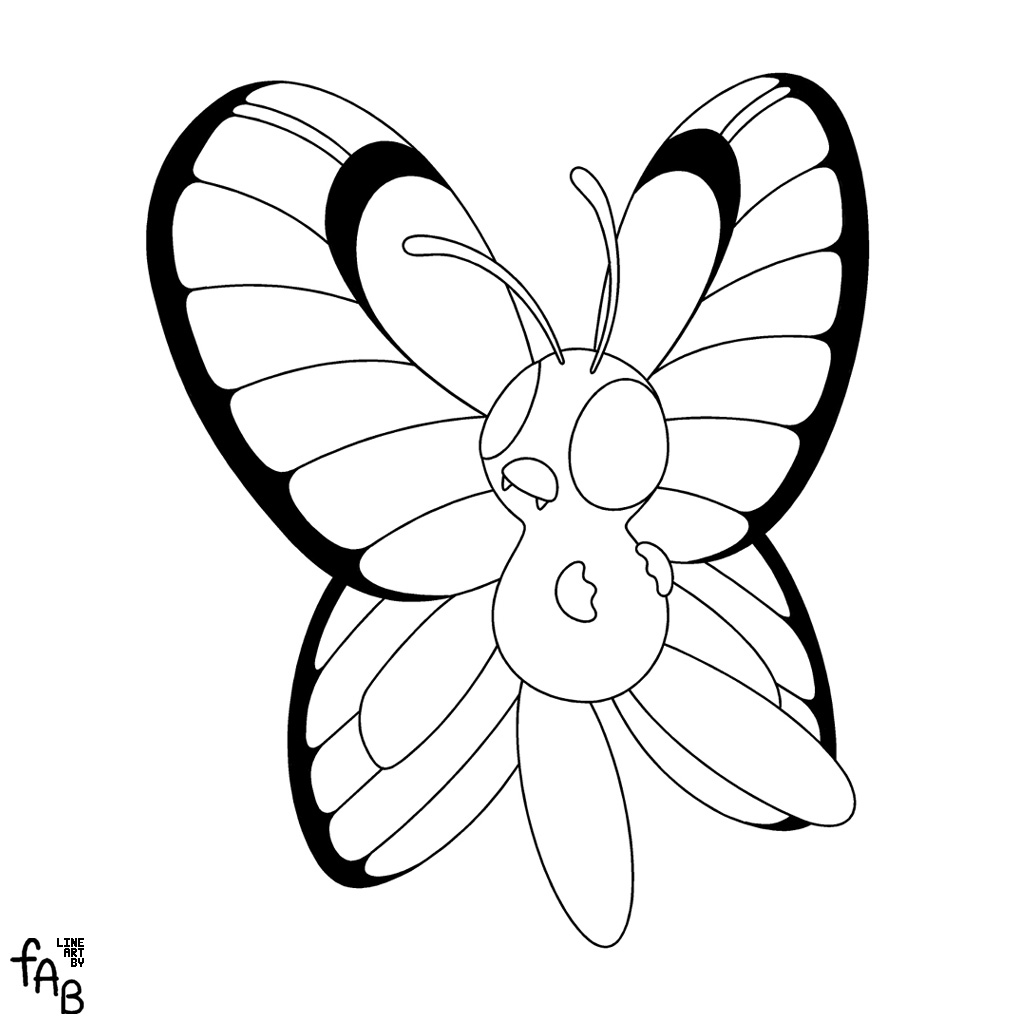 pokemon butter free coloring pages - photo#10