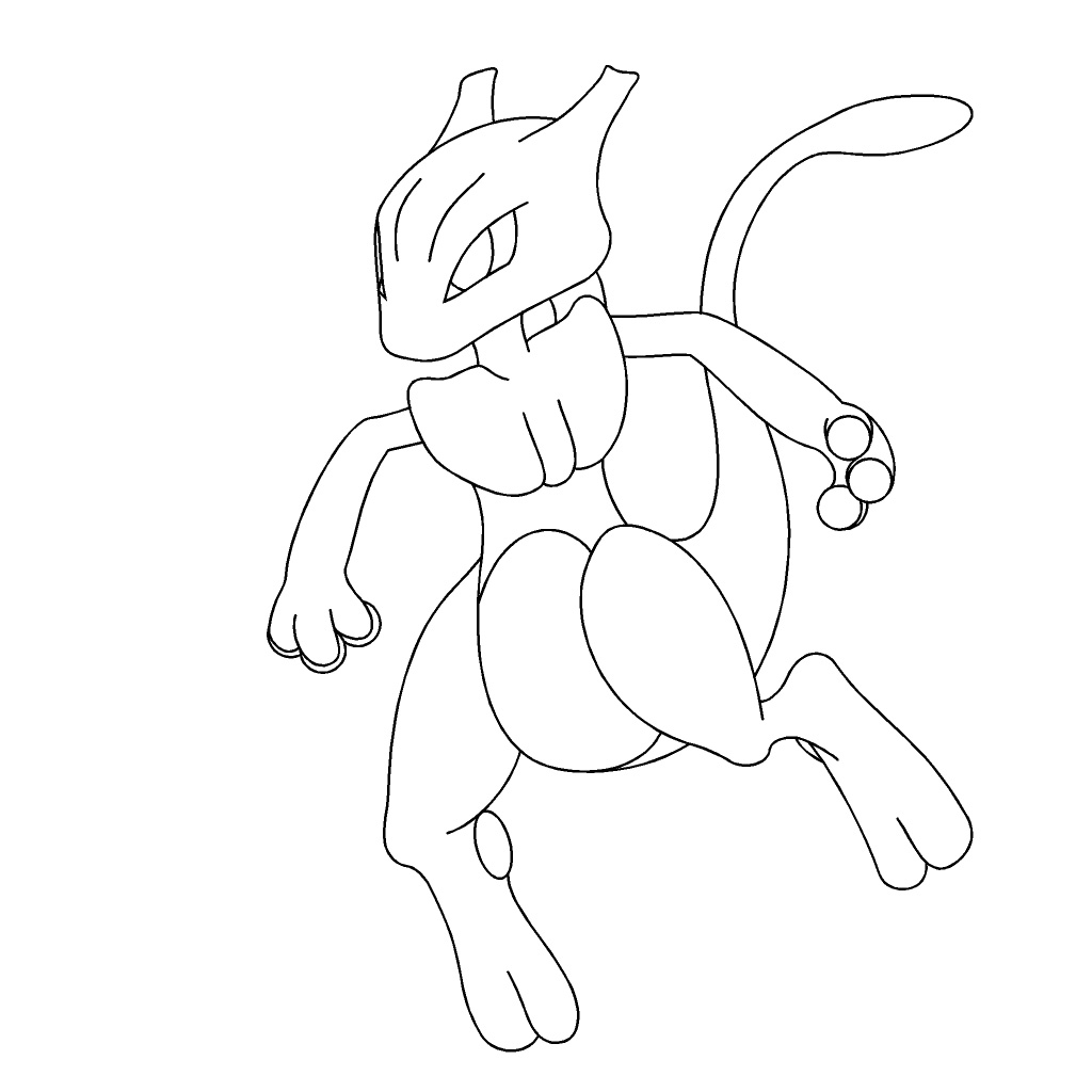 Pokemon Mewtwo Coloring Pages Sketch